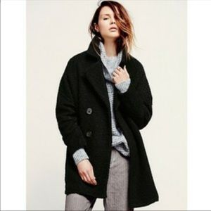 Free People fuzzy double breasted pea coat Sz M
